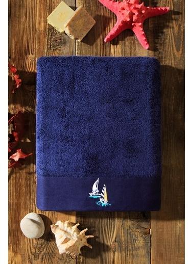 Kiğılı Yelken Nakışli Banyo Havlusu (90X150) Lacivert